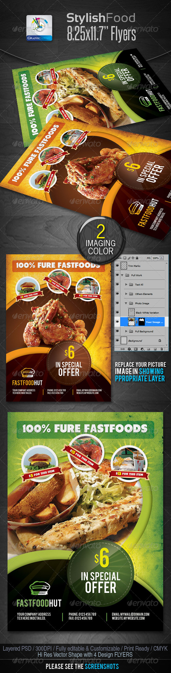 GraphicRiver Stylish Foods Flyers 2288258