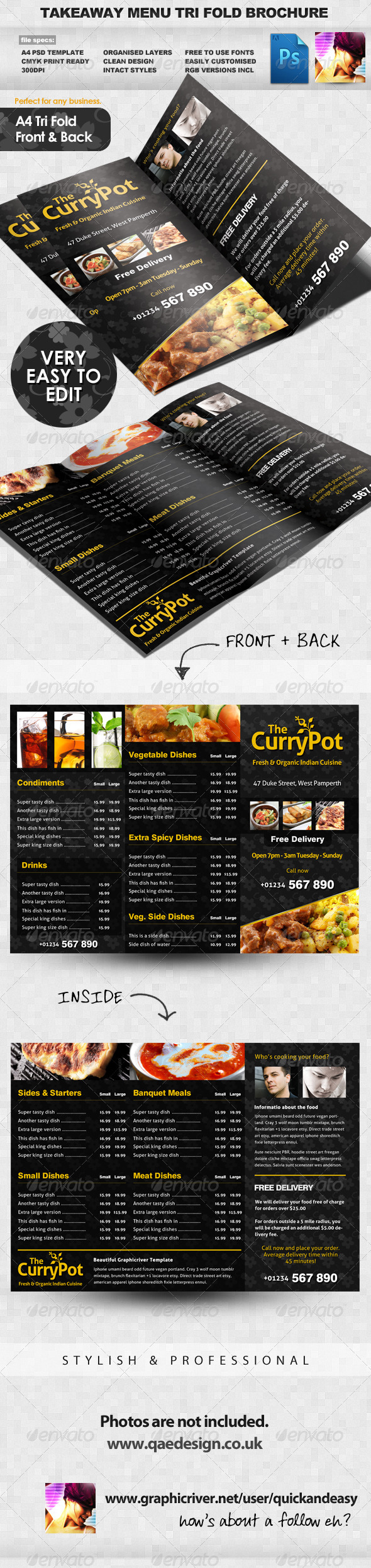 Takeaway Food Menu Trifold Brochure Template - Food Menus Print Templates