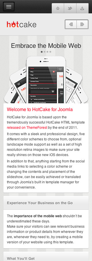 HotCake for Joomla — Retina Mobile Template - Homepage with slideshow and sample contents.