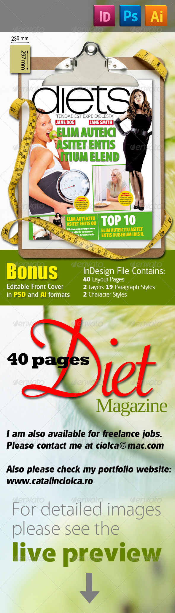 GraphicRiver 40 Pages Diets Magazine 841376