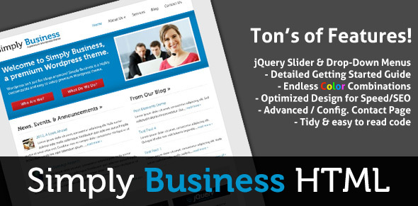 ThemeForest Simply Business HTML Small Business Template 85300