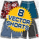 Mens Board Shorts Vector Flats Mock-Ups - Fashion - GraphicRiver Item for Sale