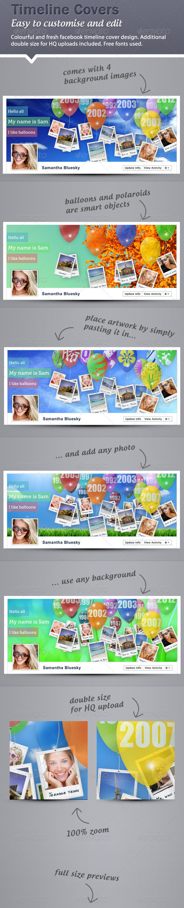 Timeline Cover - Balloons and Polaroids - Facebook Timeline Covers Social Media