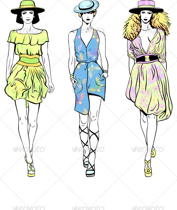 Vector Set Fashion Top Models in Summer Dresses - People Characters