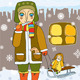 Girl Sled Winter Plays House. - GraphicRiver Item for Sale