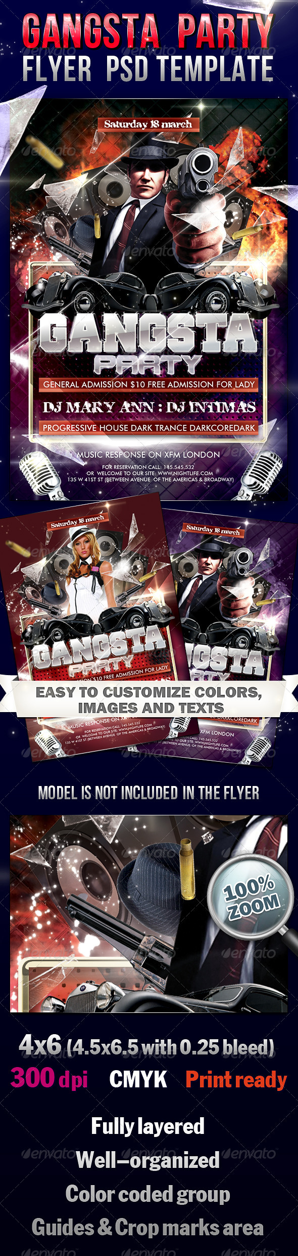 GraphicRiver Gangsta Party Flyer PSD Template 2249015