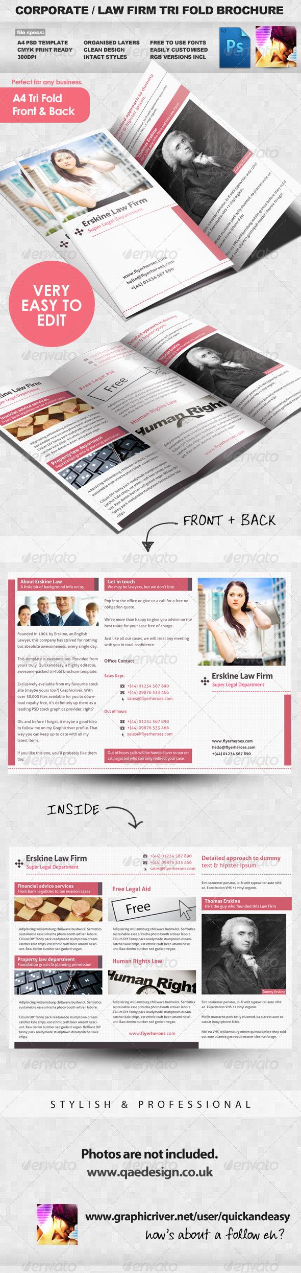 Law firm tri fold leaflet brochure template graphicriver for Legal brochure template