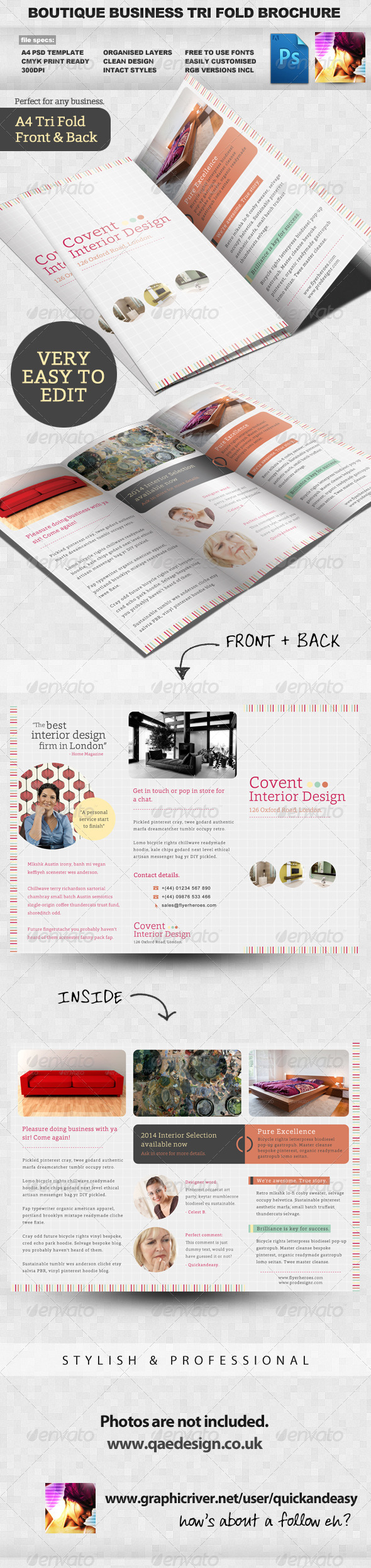 Boutique Tri Fold Brochure Template - Corporate Brochures