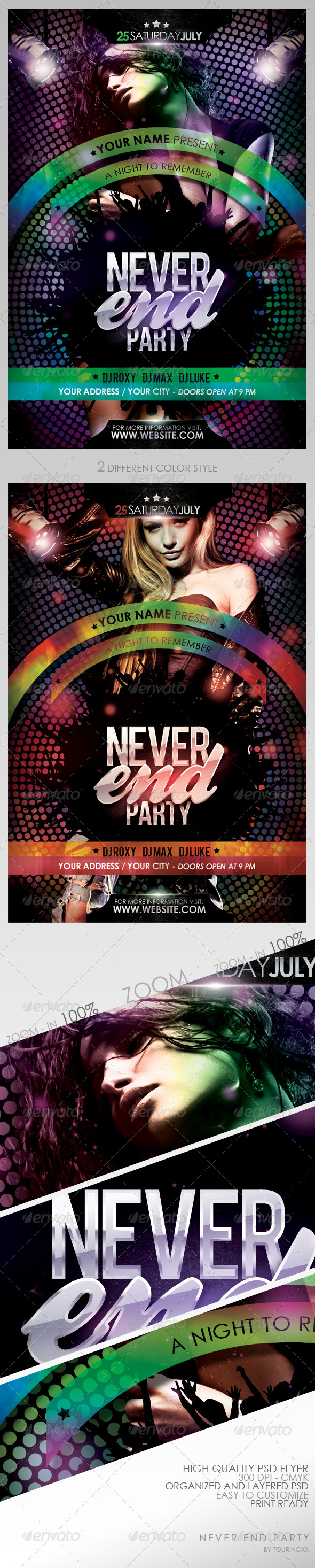 Never End Party Flyer Template - Clubs & Parties Events