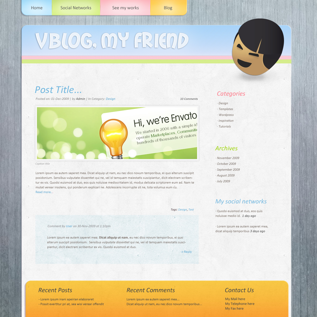 Pinkage, a sweet and colorful theme - Blog blue version page