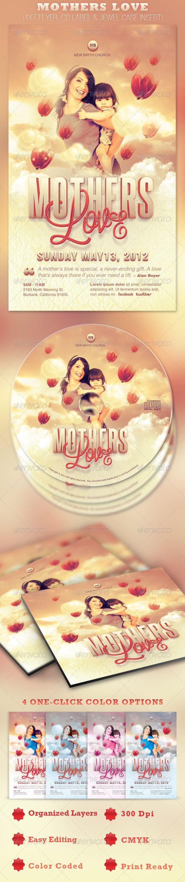 Mothers Love Flyer and CD Template - Church Flyers
