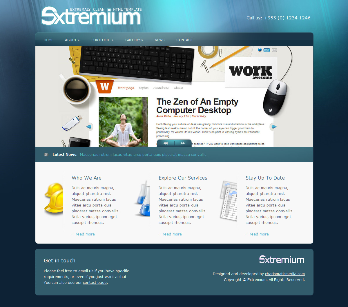 Extremium - 6 in 1 Extremely Clean HTML Template - Extremium Home Page - Blue