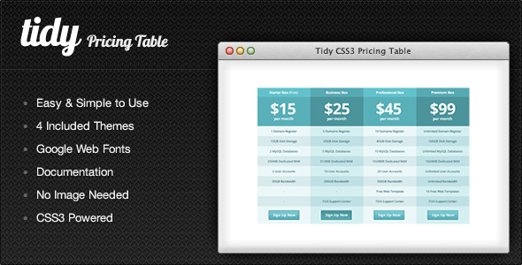 Tidy css3 pricing table simple clean flexible jogjafile for Simple table css