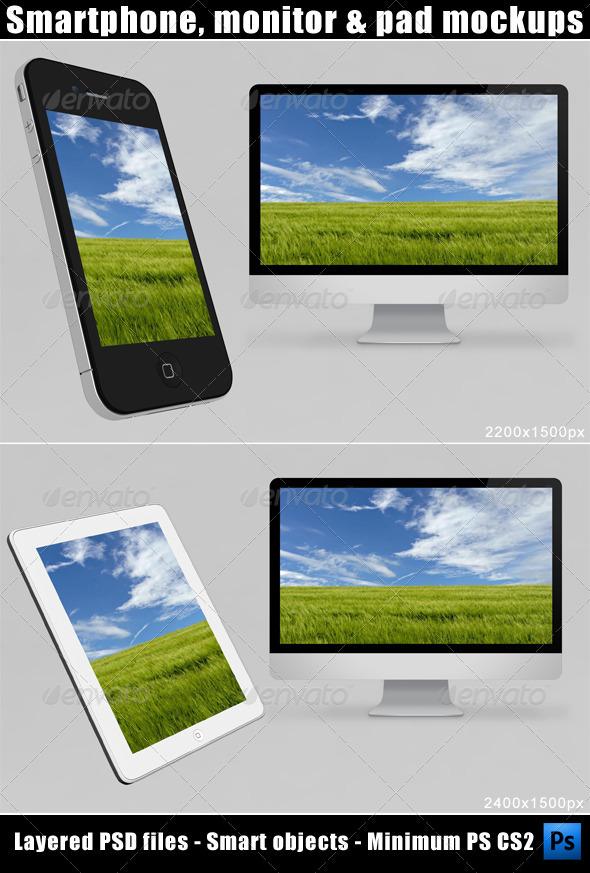 Smartphone, Monitor and Pad Mockups - Multiple Displays