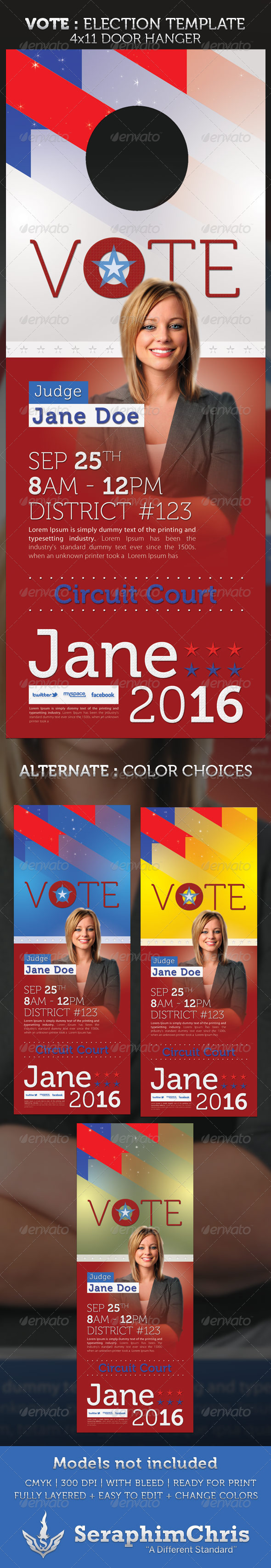 Vote - Election Door Hanger Template - Miscellaneous Print Templates