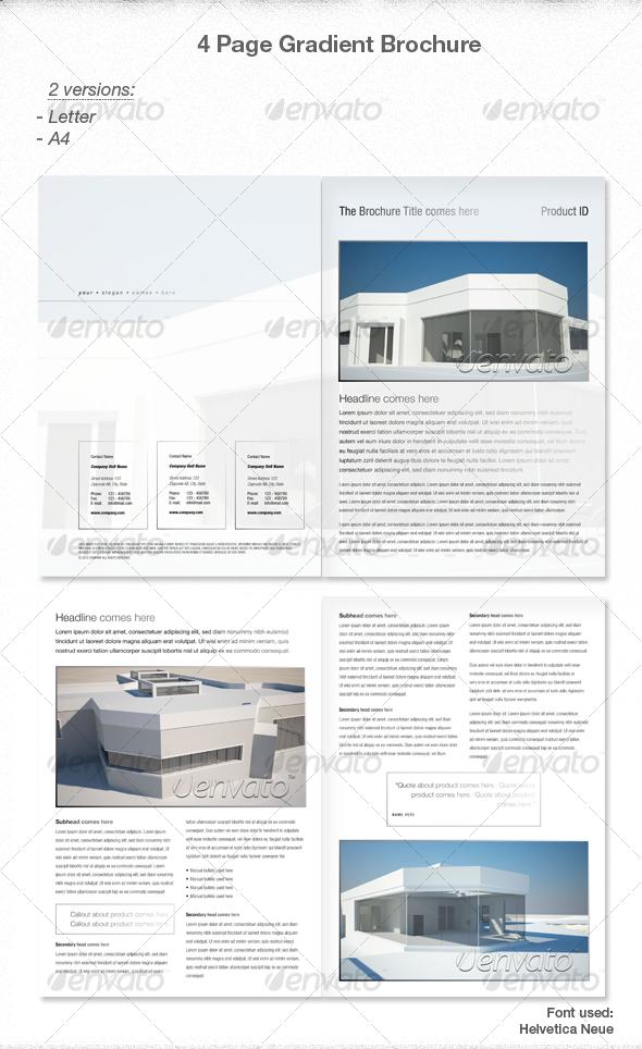 GraphicRiver Elegant 4 page Gradient Brochure 85814