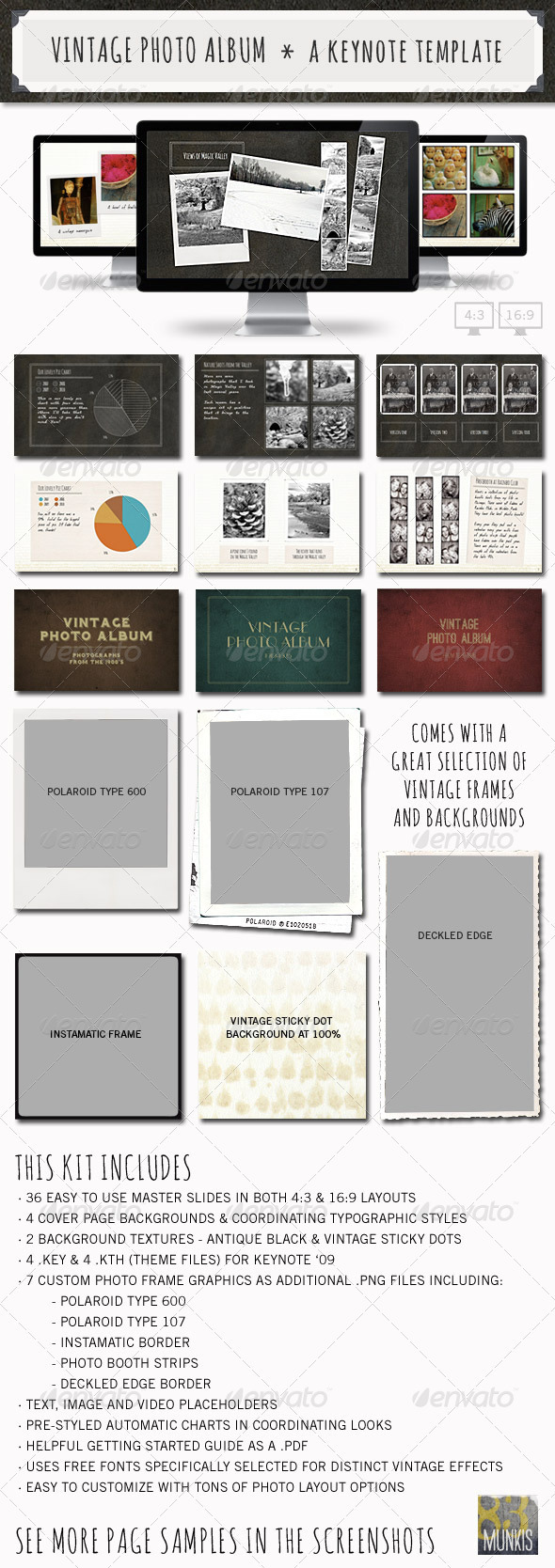 Vintage Photo Album Keynote Template - Creative Keynote Templates