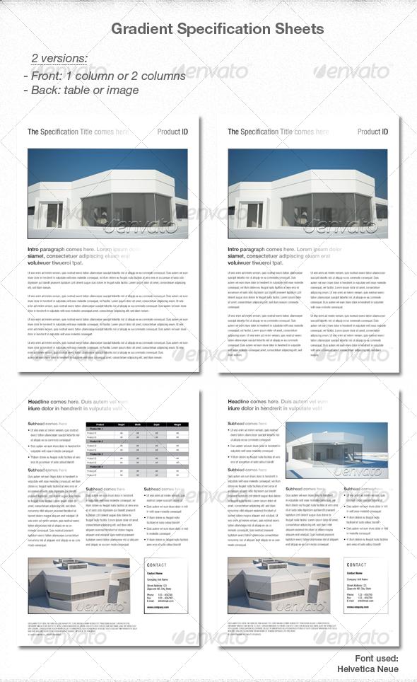 GraphicRiver Elegant Gradient Spec sheets 85861