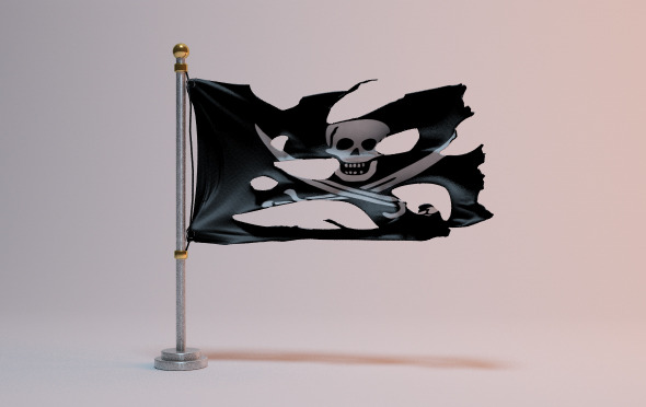 Torn pirate flag - 3DOcean Item for Sale