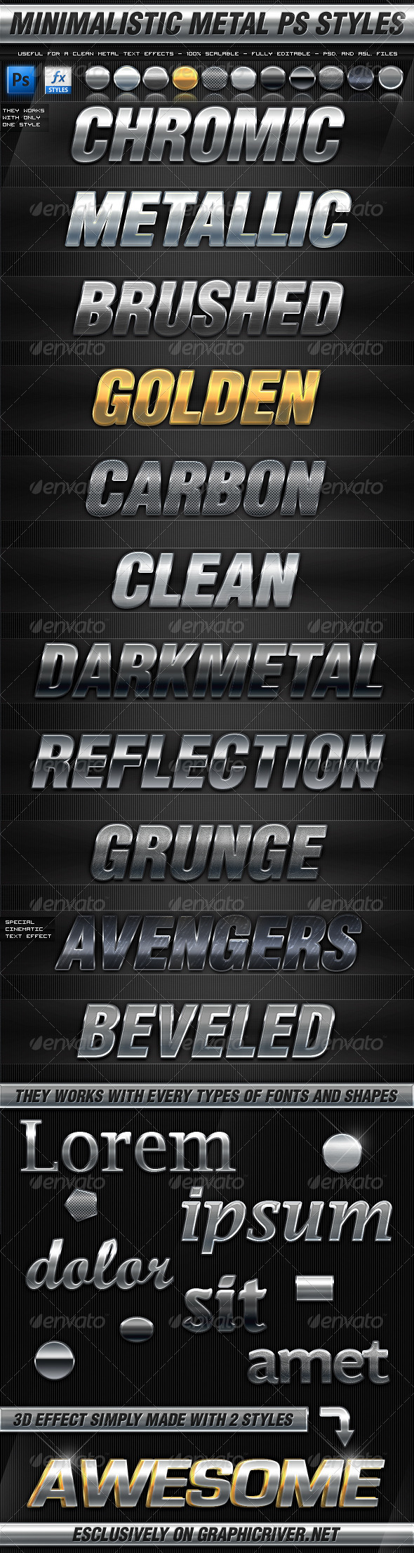 Minimalistic Metal Photoshop Styles - Text Effects Styles