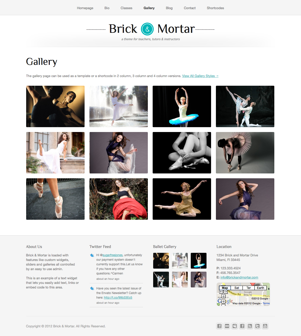 Brick & Mortar - A Personal Business Template - Gallery - The gallery comes in 3 different layouts - 2, 3 or 4 columns. You can add images or videos that open in a lightbox or on their own description page.