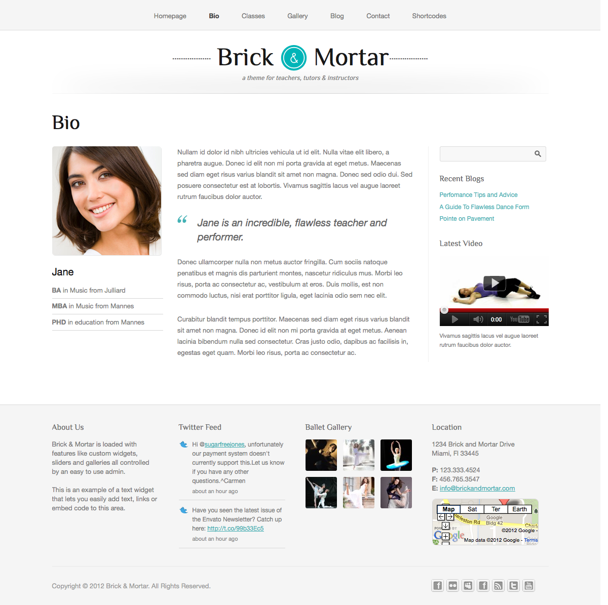 Brick & Mortar - A Personal Business Theme - About - The about page allows you to add a list of specialties underneath your headshot along with information about you or your company.