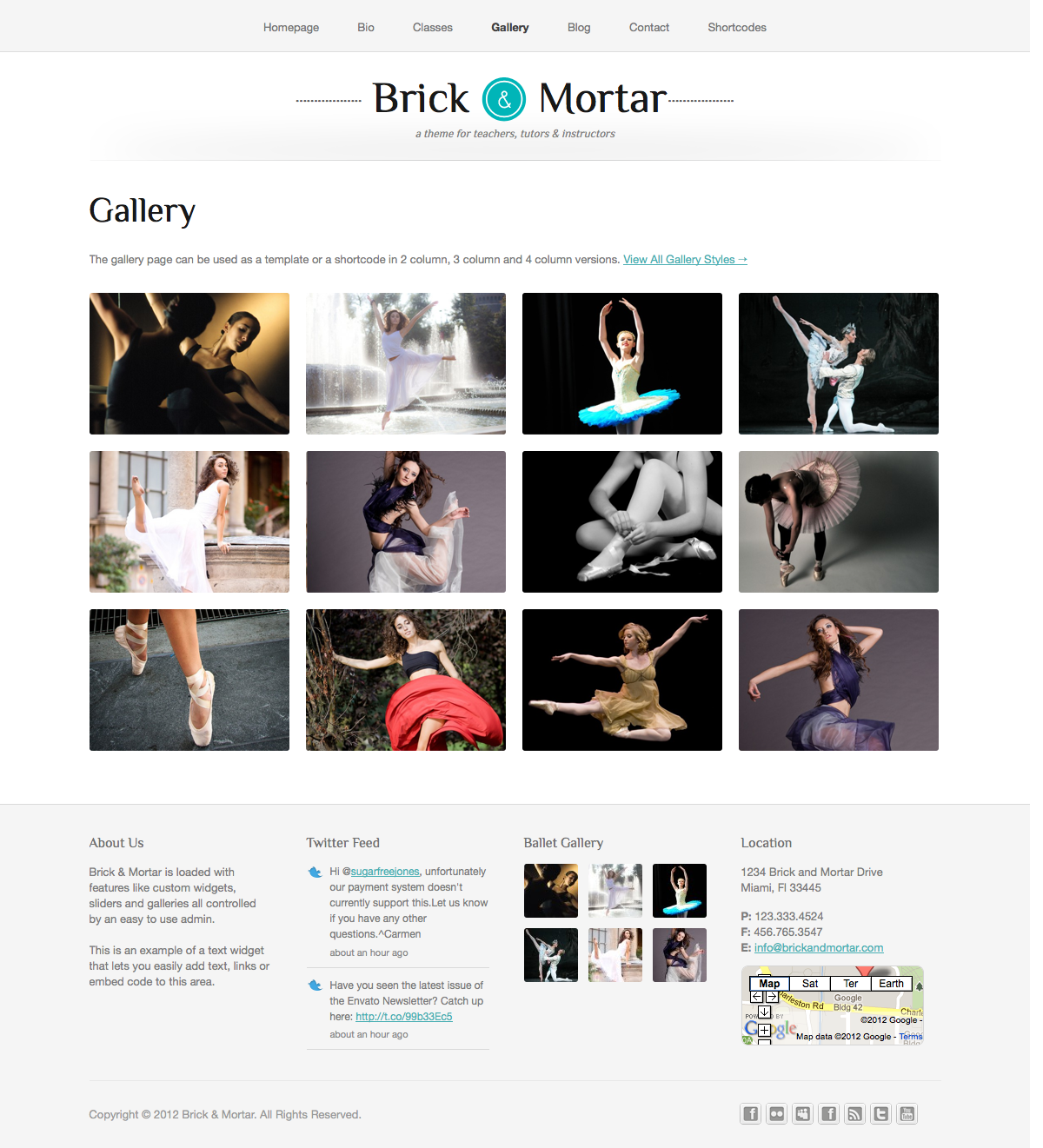 Brick & Mortar - A Personal Business Theme - Gallery - The gallery comes in 3 different layouts - 2, 3 or 4 columns. You can add images or videos that open in a lightbox or on their own description page.