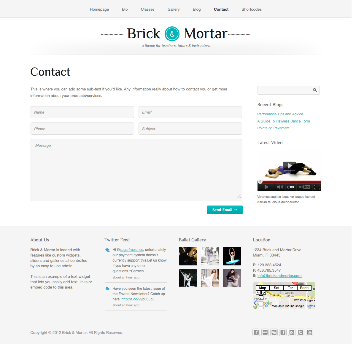 Brick & Mortar - A Personal Business Theme - Contact - Fully working contact form with validation.