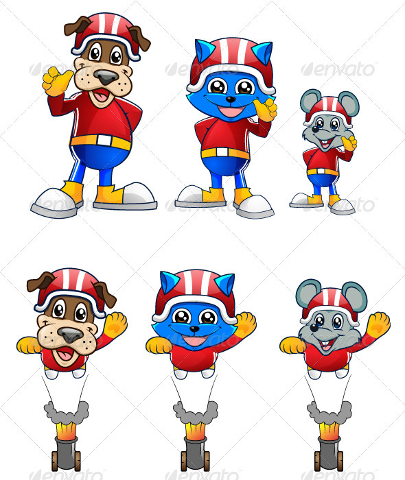 Cat, Mouse and Dog Mascot Character