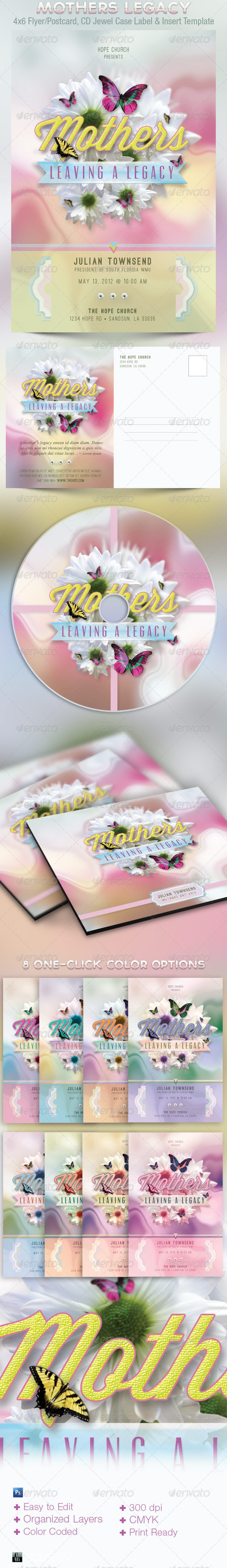Mothers Leaving A Legacy Flyer and CD Template - Church Flyers