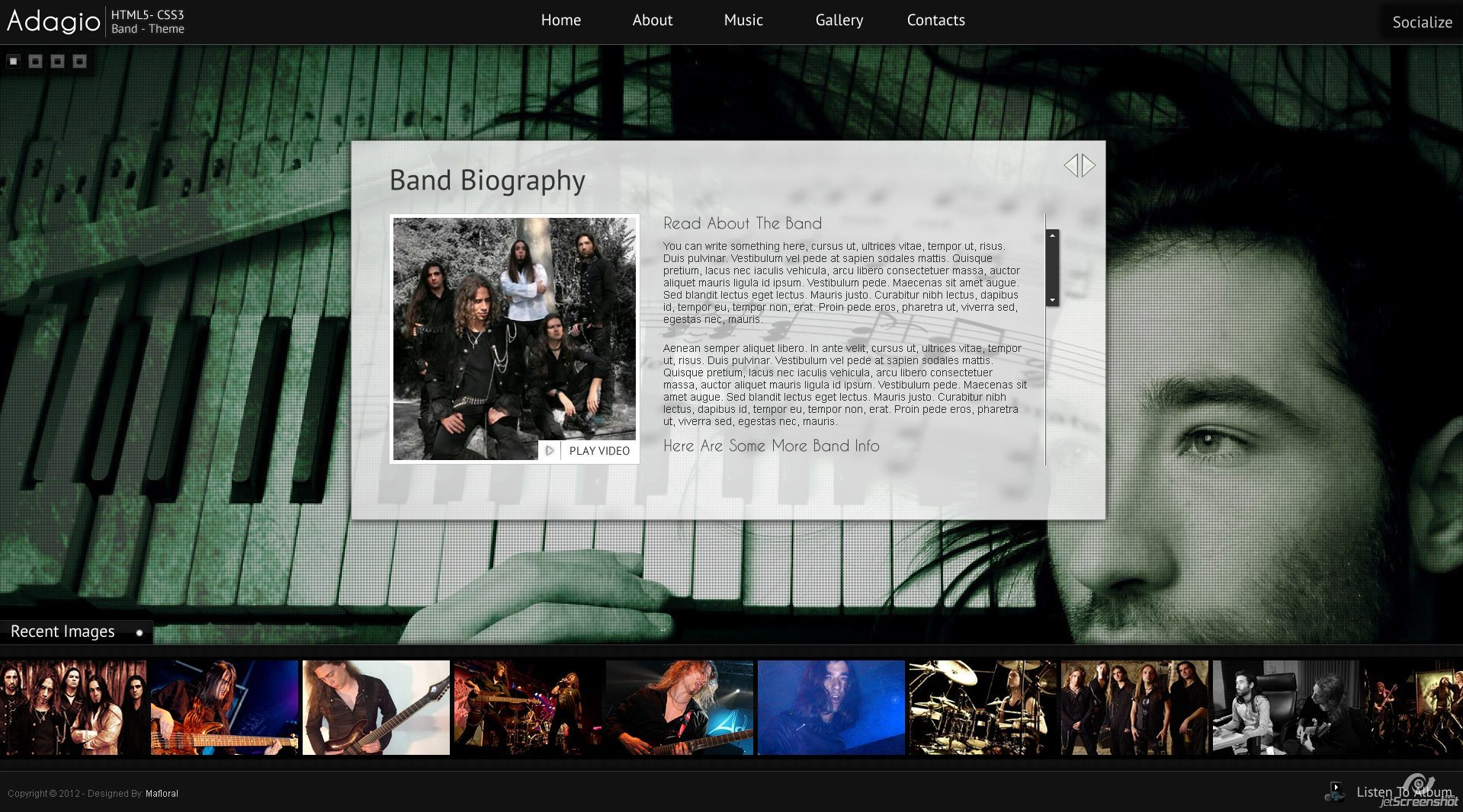 Adagio Musician Template - HTML5 - CSS3 - Bio Page  - Custom content scroller, Hover on image to open video in lightbox.