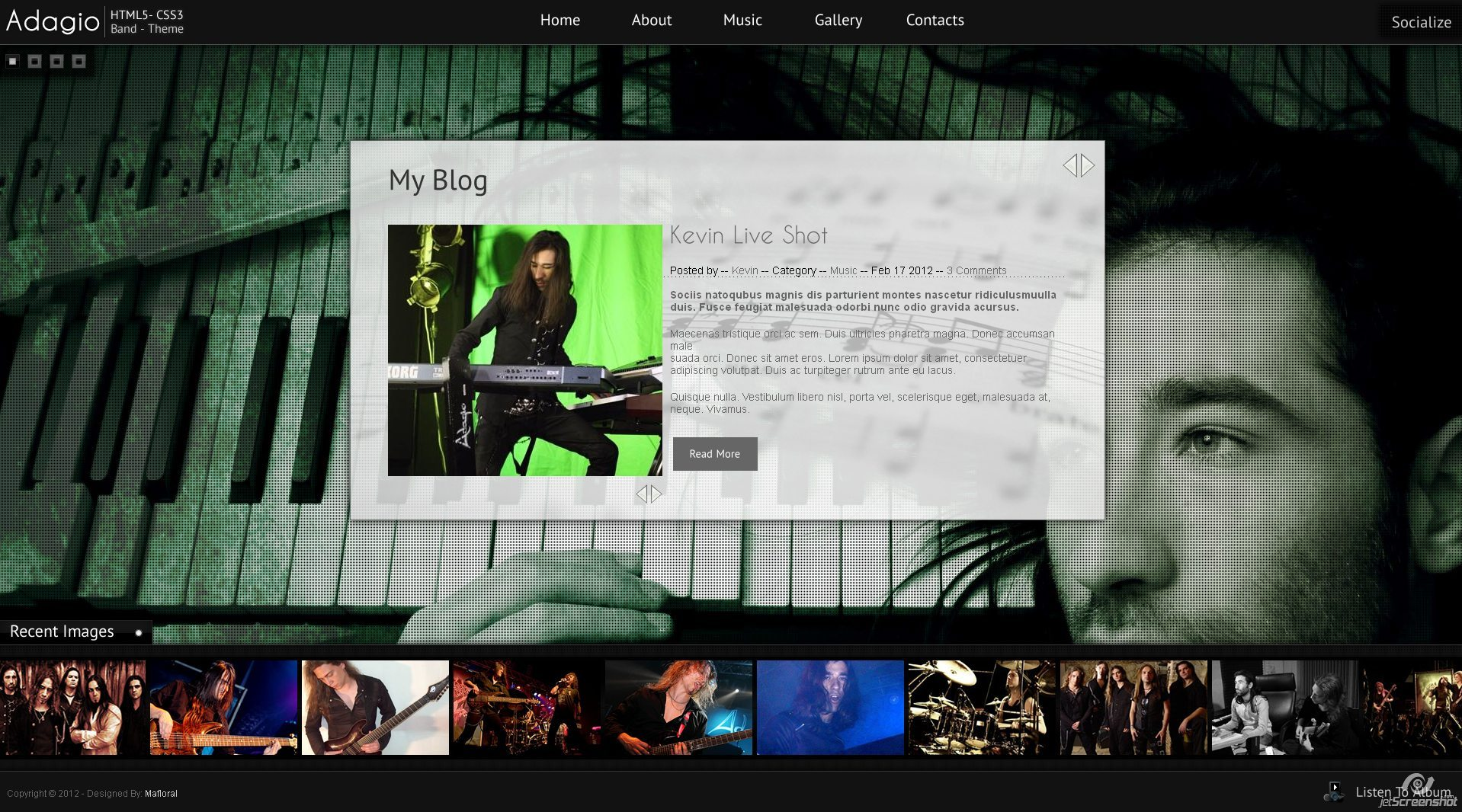 Adagio Musician Template - HTML5 - CSS3 - Blog Page