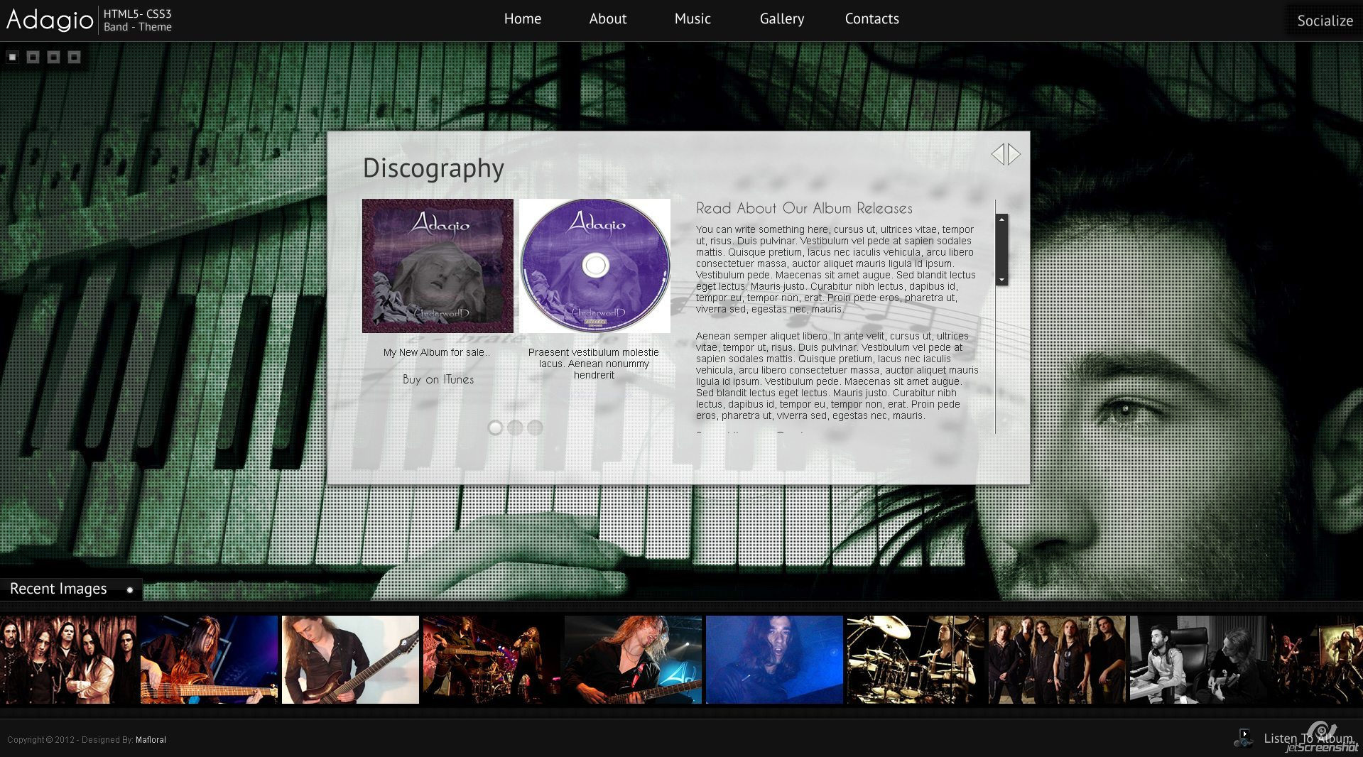 Adagio Musician Template - HTML5 - CSS3 - Discography Page  - Display your album art cd and booklet in a slider with button control.