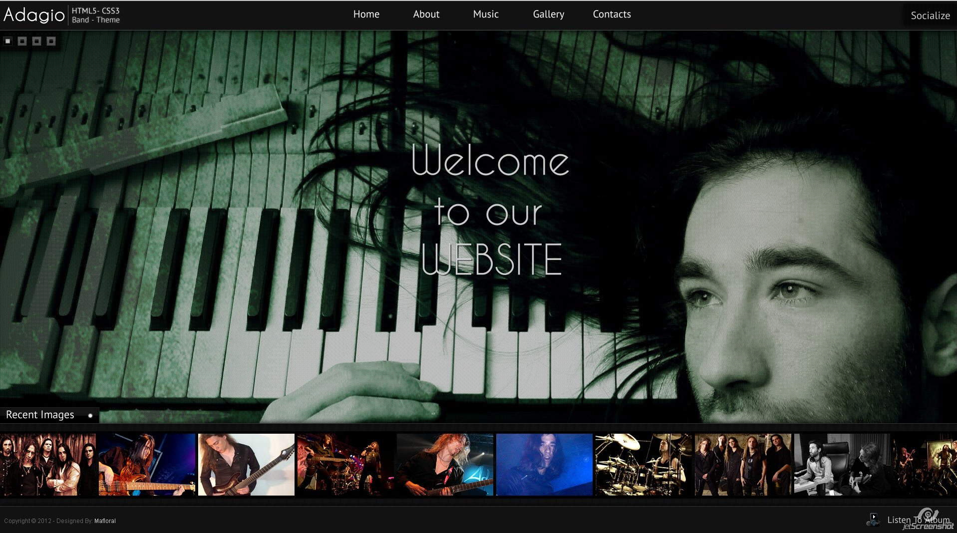 Adagio Musician Template - HTML5 - CSS3 - INdex Page  - Custom animated content, Background Slider, Superfish Drop Down menu. Many more awesome jQuery Gadgets.