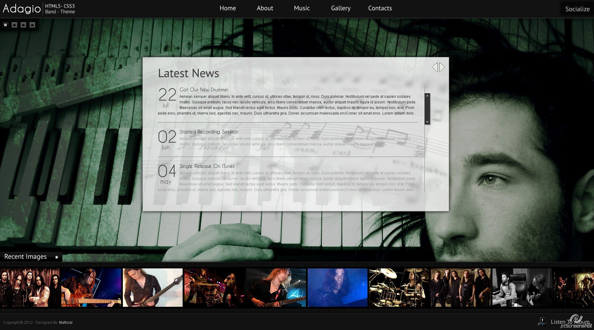 Adagio Musician Template - HTML5 - CSS3 - News Page