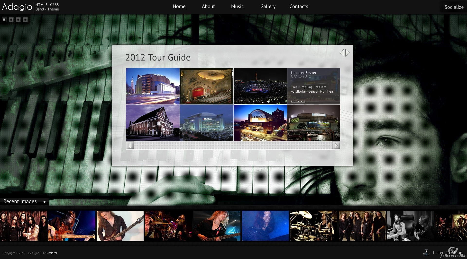 Adagio Musician Template - HTML5 - CSS3 - Tour Page  - I used another carousel for the tour page to display the places maybe cities your band is playing. On hover it displays some textual info about the gigs. Also with navigation arrows to cycle through the images.