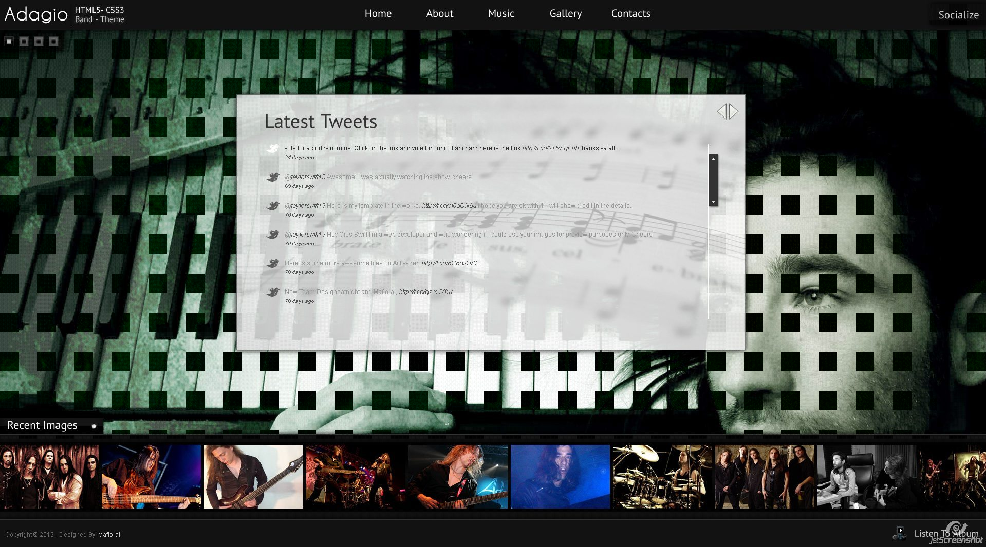 Adagio Musician Template - HTML5 - CSS3 - Tweets Page  - Read your latest tweets with this cool twitter reader in a content scroller to display and read all your latest tweets.