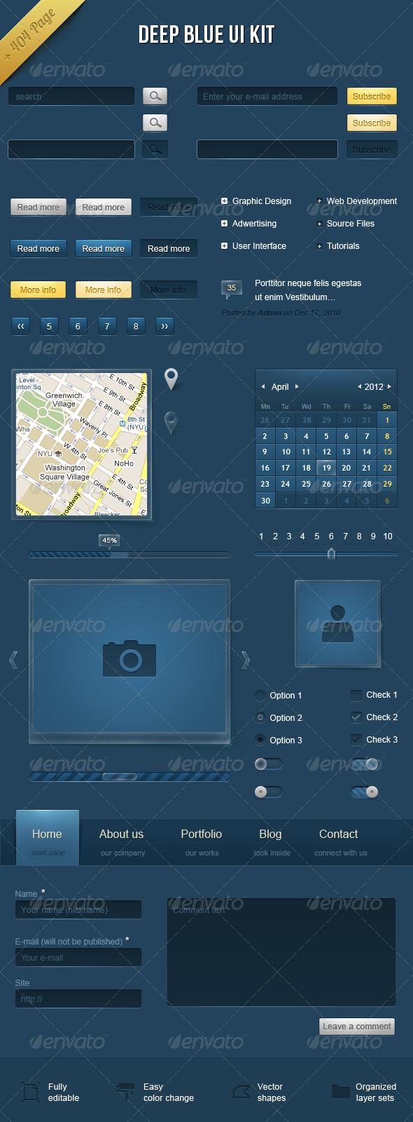 Deep Blue UI Kit - User Interfaces Web Elements