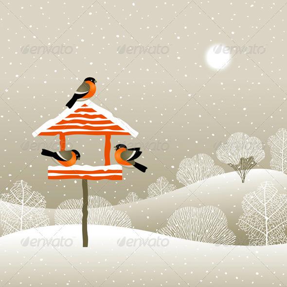 Birdfeeder In Winter Forest - Christmas Seasons/Holidays