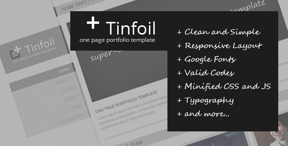 Tinfoil - Responsive One Page Portfolio Template