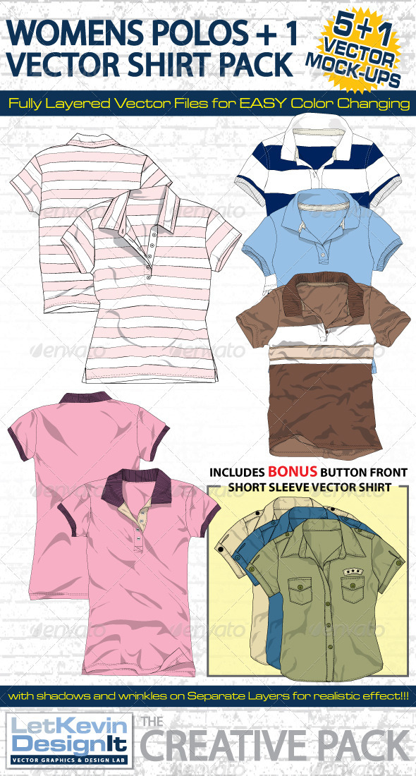 Womens Polo Vector Mock-Ups Template