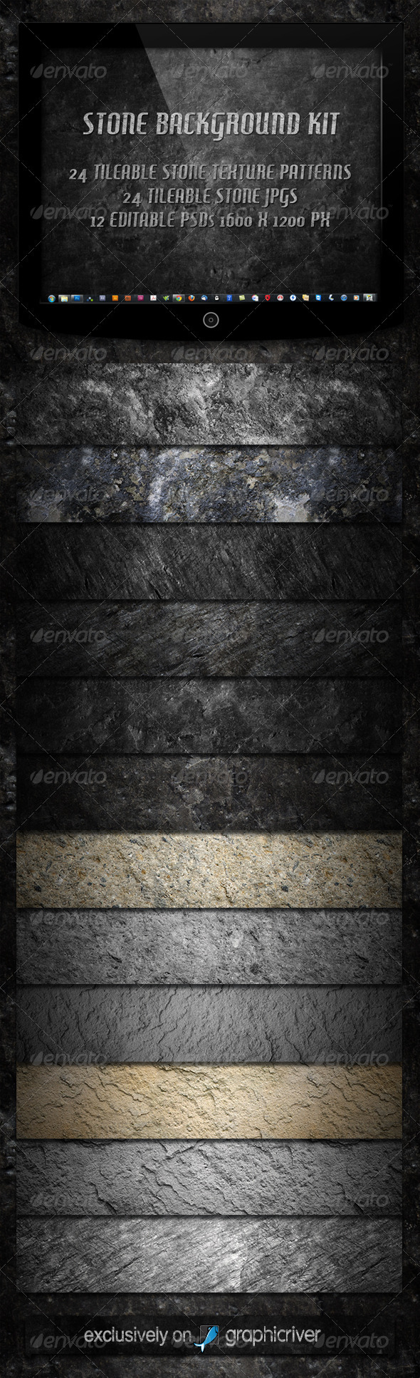 GraphicRiver 12 Tileable Stone Textures Background Kit 2320580