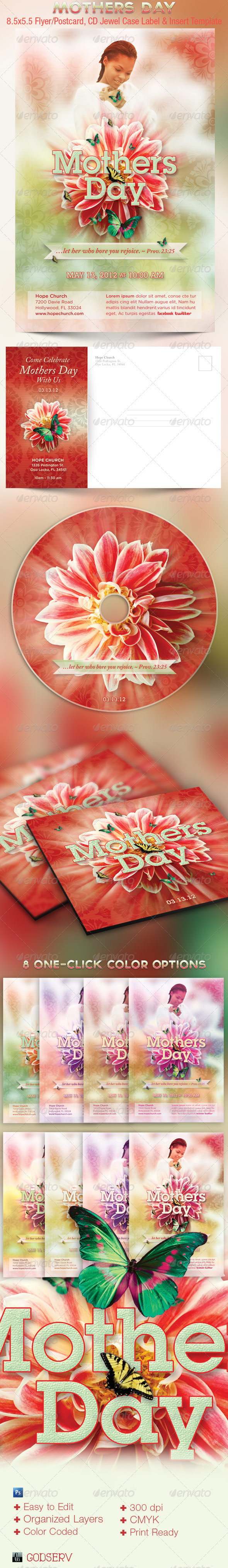 Mothers Day Church Flyer, Mailer and CD Template  - Church Flyers