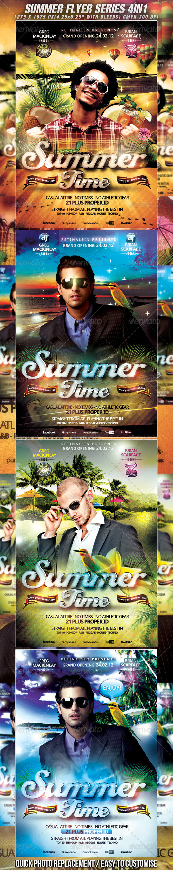 GraphicRiver Summer Flyer Series 4in1 High Quality 2320821
