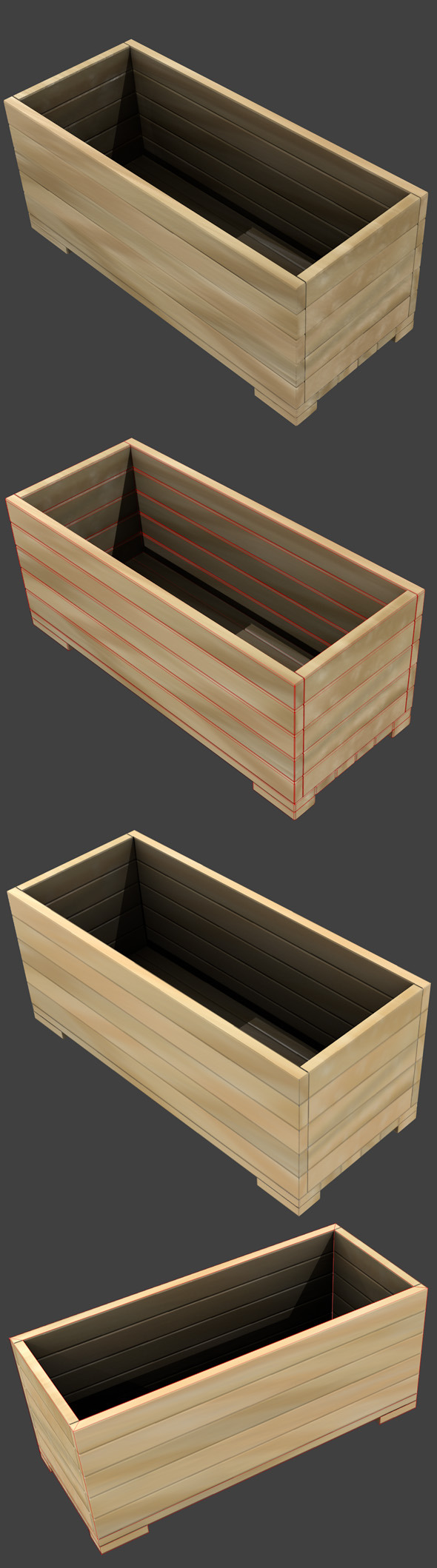 3DOcean Wooden Box Flower Pot High and Low-poly 262915