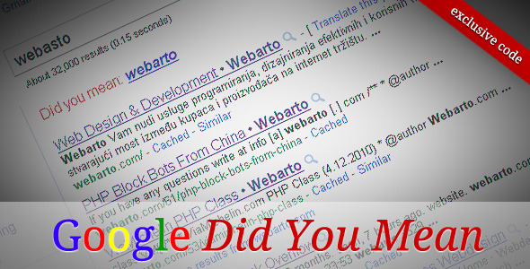Google Did You Mean PHP Class - WorldWideScripts.net Artikel zum Verkauf