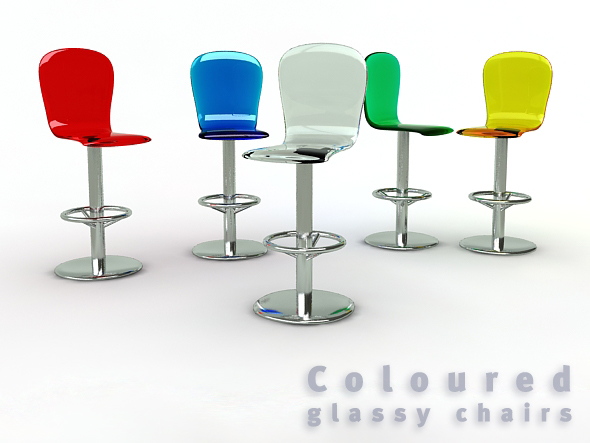 Glassy chairs - 3DOcean Item for Sale