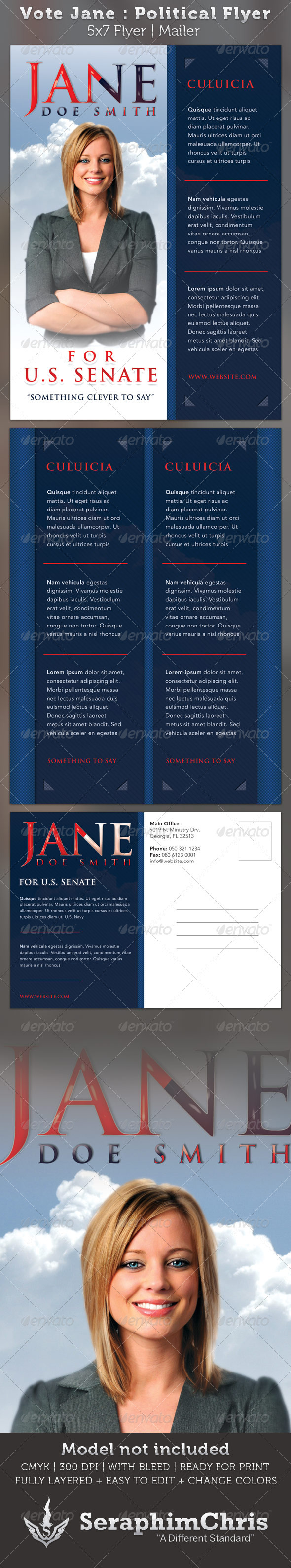 Graphic River Vote Jane 5x7 Political Flyer & Mailer Template Print Templates -  Flyers  Events 2321445
