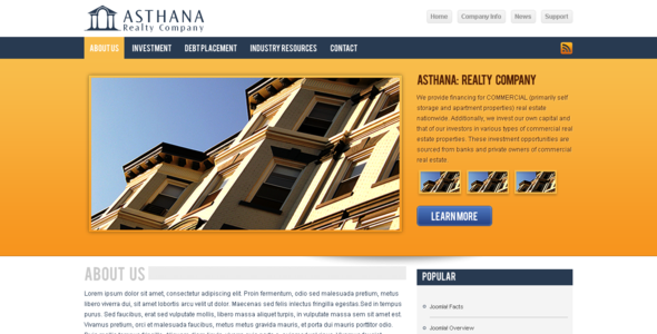 ThemeForest Asthana Realty Joomla Template 86251