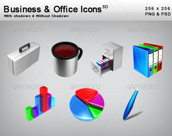 3D Business & Office Icons